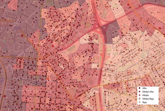 ejemplo de zonas con distinta calidad de ubicacion